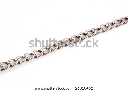 The metallic chains on a white background