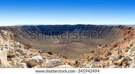 The Meteor Crater  (Barringer Crater, Canyon Diablo) best preserved meteorite crater on Earth. Northern Arizona, US - stock photo