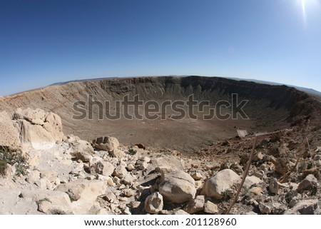The meteor impact crater Winslow, Arizona, USA - stock photo