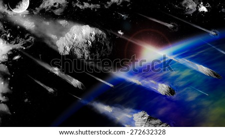 The meteorite could come very close to crashing into the earth - stock photo