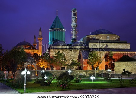 "The Mevlana Museum, in Konya, Turkey, in the ""blue"" hour, with its famous green-turquoise dome"