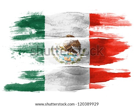 The Mexican flag painted on  white paper with watercolor