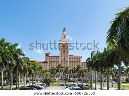 The Miami Biltmore Hotel in Coral Gables. The old vintage building is a luxury hotel and it is listed as a National Historic Landmark in the United States.