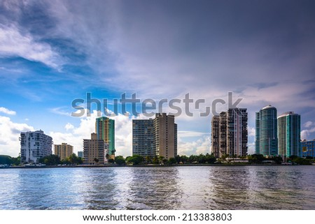 The Miami skyline seen from Virginia Key, in Miami, Florida.