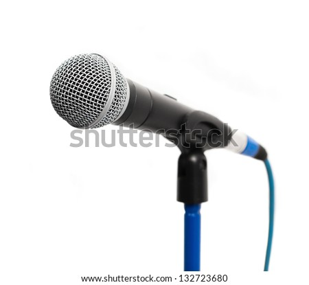 The microphone on a rack is isolated on a white background - stock photo