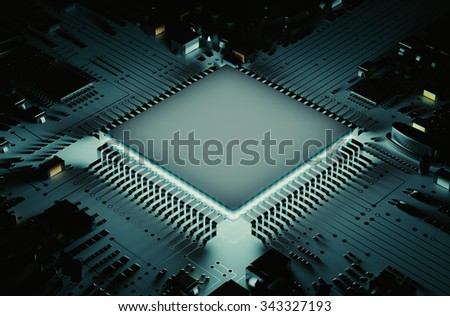 The microprocessor circuit board 3d rendering.