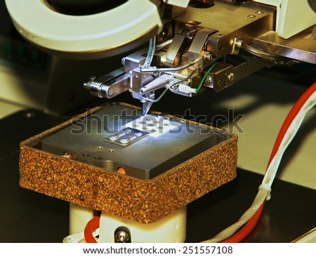 The microscope is used to control chip - stock photo