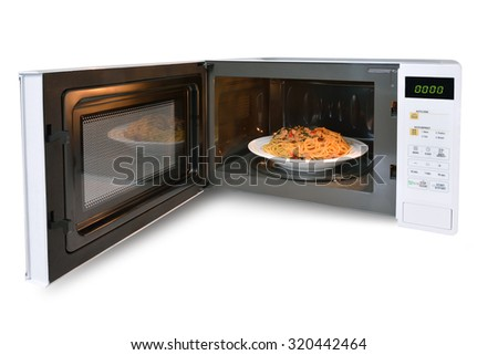 The microwave oven is spaghetti.