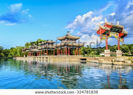 The Mid-lake Pavilion of Chengde Mountain Resort. It is a large complex of imperial palaces and gardens situated in the city of Chengde in Hebei, China. - stock photo