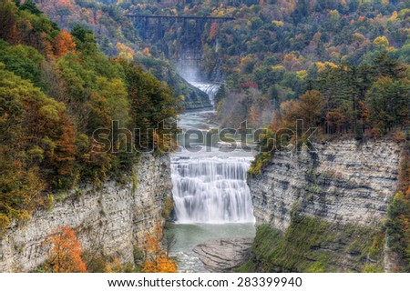 The Middle Falls At Letchworth State Park In New York - stock photo