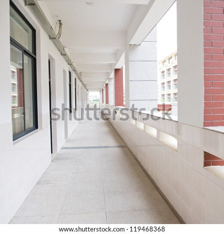 The middle school corridor in China. - stock photo