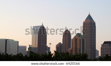 The midtown Atlanta skyline at dawn.