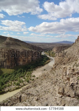 The mighty Rio Grande River during the dry season, Big Bend National Park, USA and Mexico border - stock photo