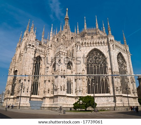 The Milan Cathedral against a blue sky. Lombardy, Italy