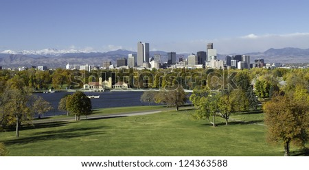 The Mile High City of Denver Colorado, with the Rocky Mountains in the background. - stock photo