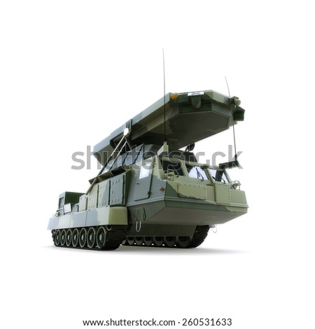 The military vechicle with radar, isolated on white
