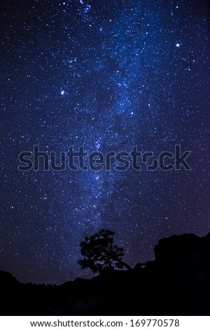 the Milky Way above Teide National Park at Tenerife Island - stock photo