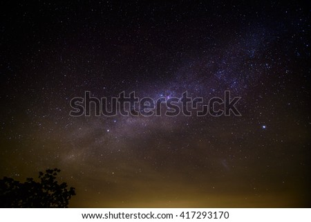 The Milky Way photographed at Wisemans Ferry, Sydney, Australia. Some city light contamination is still evident after processing, though not immediately apparent during the lonely shoot. - stock photo