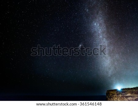 The Milky Way, rising out of the Mediterranean Sea at Mtahleb in Malta. - stock photo