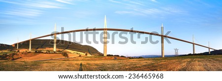The Millau Viaduct in Aveyron Departement, France - stock photo
