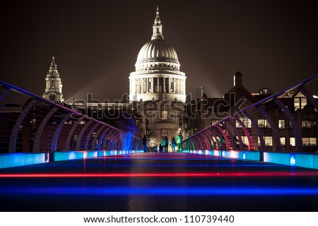 The Millennium Bridge at Night in London - stock photo