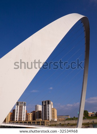 The Millennium Foot Bridge, Newcastle-upon-Tyne UK on a sunny day