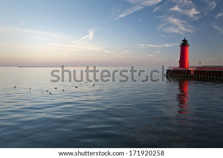 The Milwaukee Lighthouse in warm afternoon light, Milwaukee, Wisconsin. - stock photo