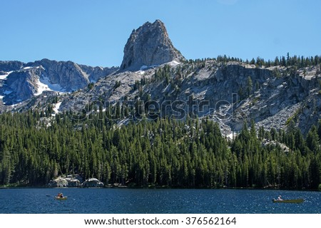 The Minaret from Lake George.  Destination Mammoth Lakes in California - stock photo