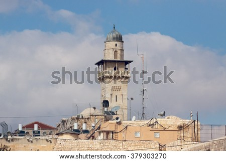 The minaret in Jerusalem city - stock photo