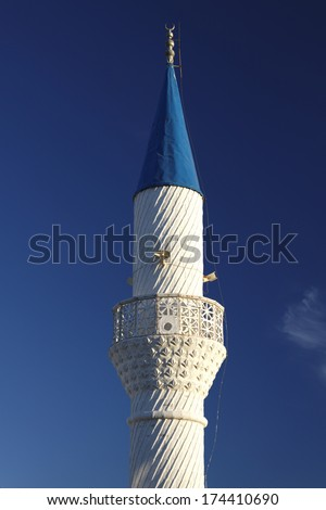 The minaret of mosque in Bodrum Turkey