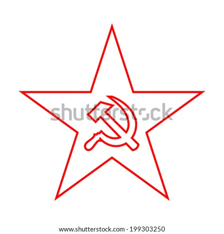 The minimal red star with socialist symbols made of thin lines on white background - stock photo