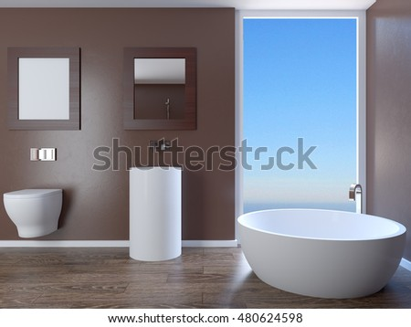 The minimalistic design of the bathroom. 3D Render