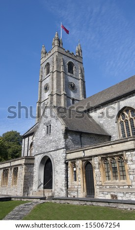 The Minster Church of St Andrew in Plymouth, Devon - England. Bombed in March 1941 during WW2, and later restored by Sir Frederick Etchells. It was re-consecrated on 30 November 1957, St Andrew's Day. - stock photo