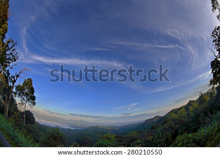 The miracle clouds over the forest of tropical Country - stock photo