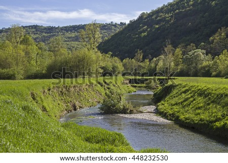 The Mirna a 53-kilometer long river in Istria offers beautiful landscapes and natural beauties - stock photo