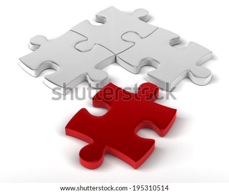 The Missing Element Red Piece to join the rest of Jigsaw Puzzle - stock photo