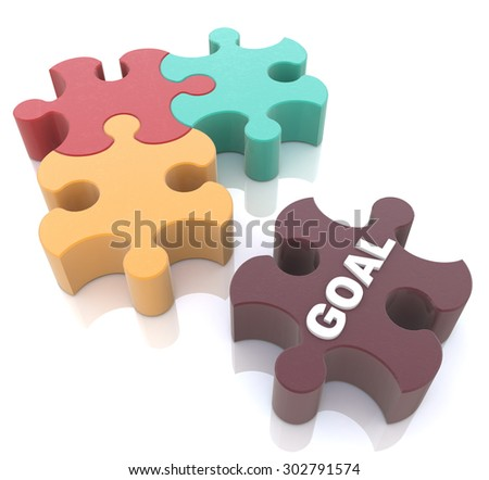 The missing piece of the puzzle with the word Goal  - stock photo