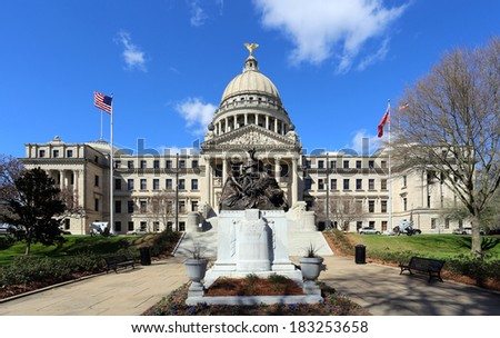 The Mississippi State Capitol Building in downtown Jackson. - stock photo