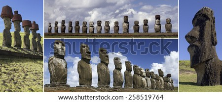 The Moai of Easter Island in the South Pacific. Easter Island is famous for its 887 monumental statues, called moai, created by the early Rapa Nui people. A UNESCO World Heritage Site. - stock photo