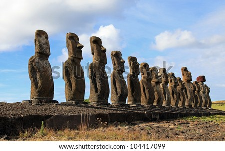 The 15 moai statues on Easter Island in the South Pacific