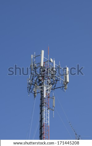 The mobile base Station,Radio Relay Link with blue sky