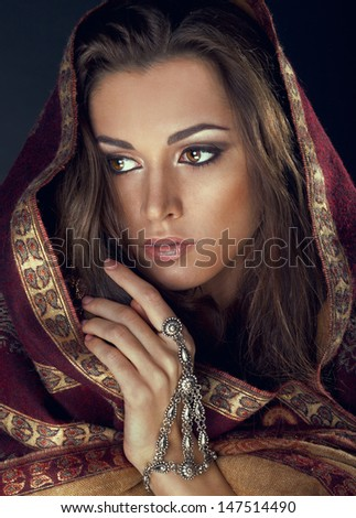 The model in the form of Indian princess - stock photo