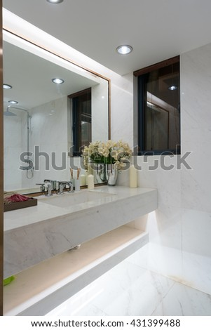 the modern bathroom with nice decoration