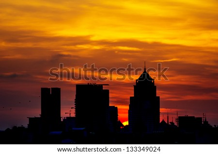 The modern buildings on the river during the morning. - stock photo