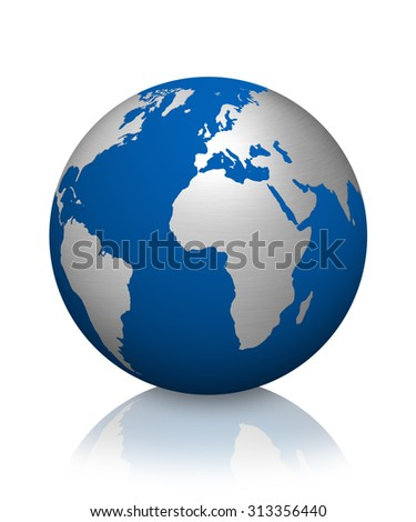 The modern earth isolated on white background - stock photo