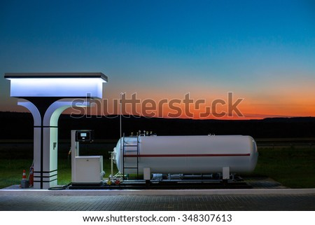 The modern, environmentally friendly and safe fueling at sunset