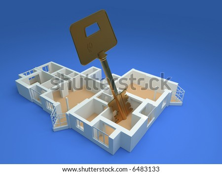 the modern flat with luxory key sketch 3d rendering - stock photo