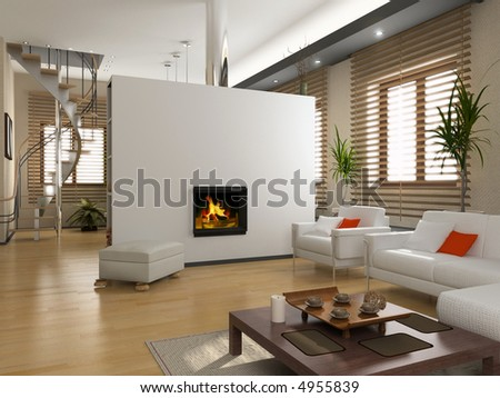 the modern interior design with fireplace (3D) - stock photo