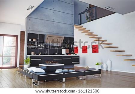 the modern kitchen interior design (3D rendering) - stock photo