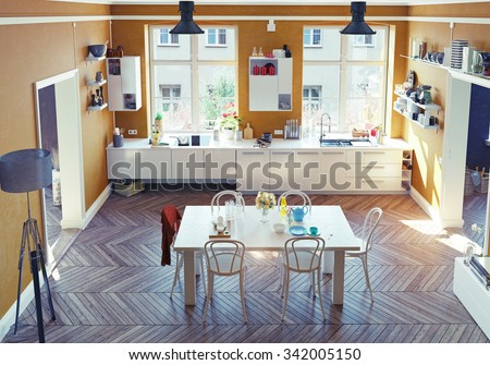 The modern kitchen interior. Top view.3d render concept - stock photo